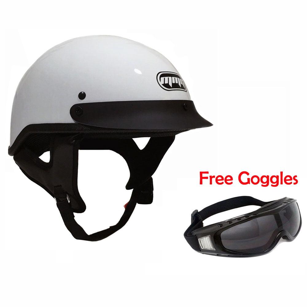 Motorcycle Cruiser Half Helmet DOT Street Legal White (Medium) + FREE Smoked Riding Goggles
