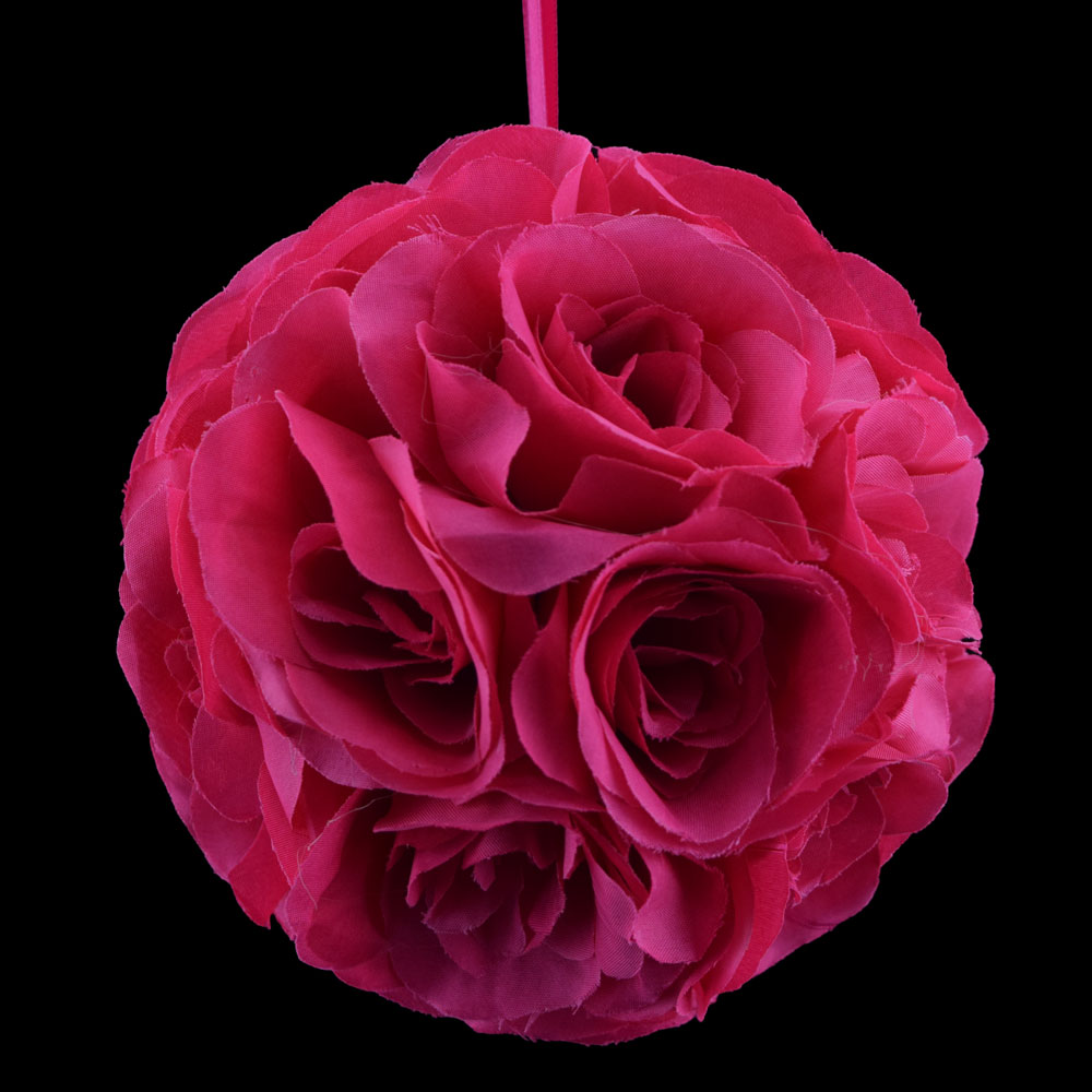 """Quasimoon 6"""" Fuchsia / Hot Pink Rose Flower Pomander Small Wedding Kissing Ball for Weddings and Decoration by PaperLanternStore"""