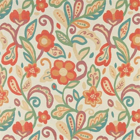 Contemporary Floral Fabric - Designer Fabrics K0023A 54 in. Wide Teal, Green, Orange And Beige, Floral Contemporary Upholstery Fabric