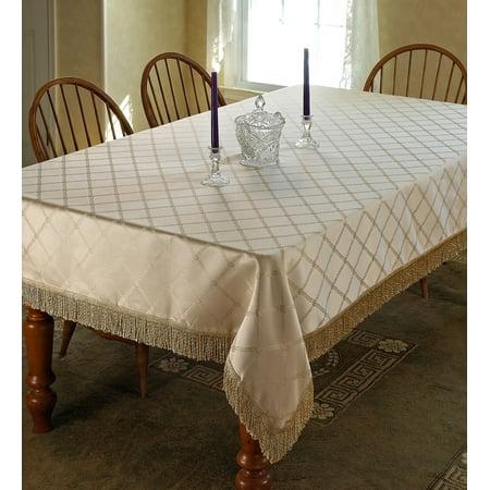 Diamond Damask Design Fringes Tablecloth