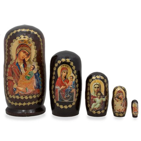 4.25'' Set of 5 Virgin Mary and Jesus Icon Russian Nesting Dolls (Jesus Doll)