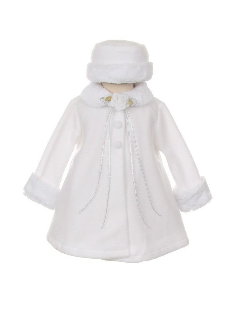 Kids Dream Red Fleece Faux Collar Stylish Coat Baby Girl 6-24M