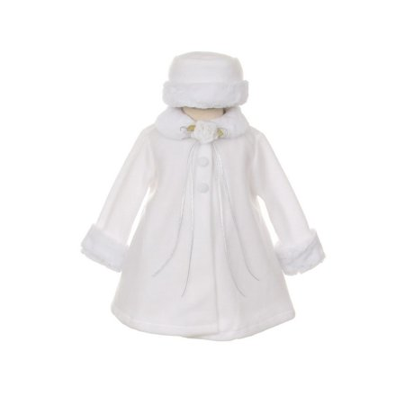 Faux Fur Coat Girl (Kids Dream White Fleece Faux Fur Collar Stylish Coat Baby Girl)