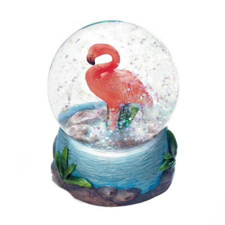 Snowglobe Ornament - Snow Globe Ornament, Pink Flamingo Mini Decorative Collectibles Snow Globes