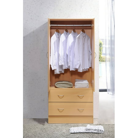 Mahogany Office Wardrobe - Hodedah Two Door Wardrobe with Two Drawers and Hanging Rod, Multiple Colors