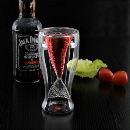 Creative Double Wall Mermaid Glasses Beer Mug Creative Fishtail Cup Beauty Glassware
