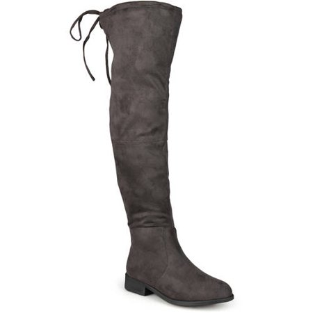 Brinley Co. Women's Wide Calf Faux Suede Over-the-knee Boots - Faux Suede Wedge Boot