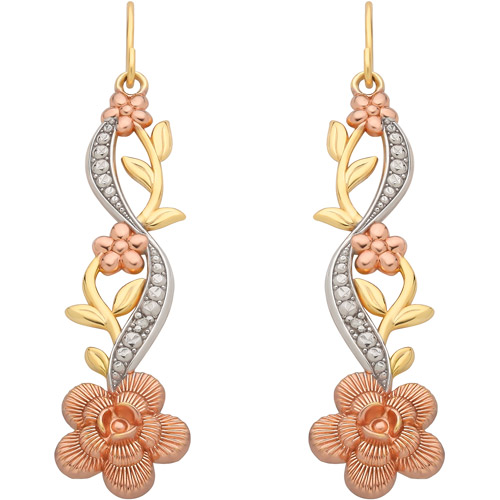 Diamond-Accent 18kt Yellow Gold over Sterling Silver Swirl with Leaves and Flower Earrings