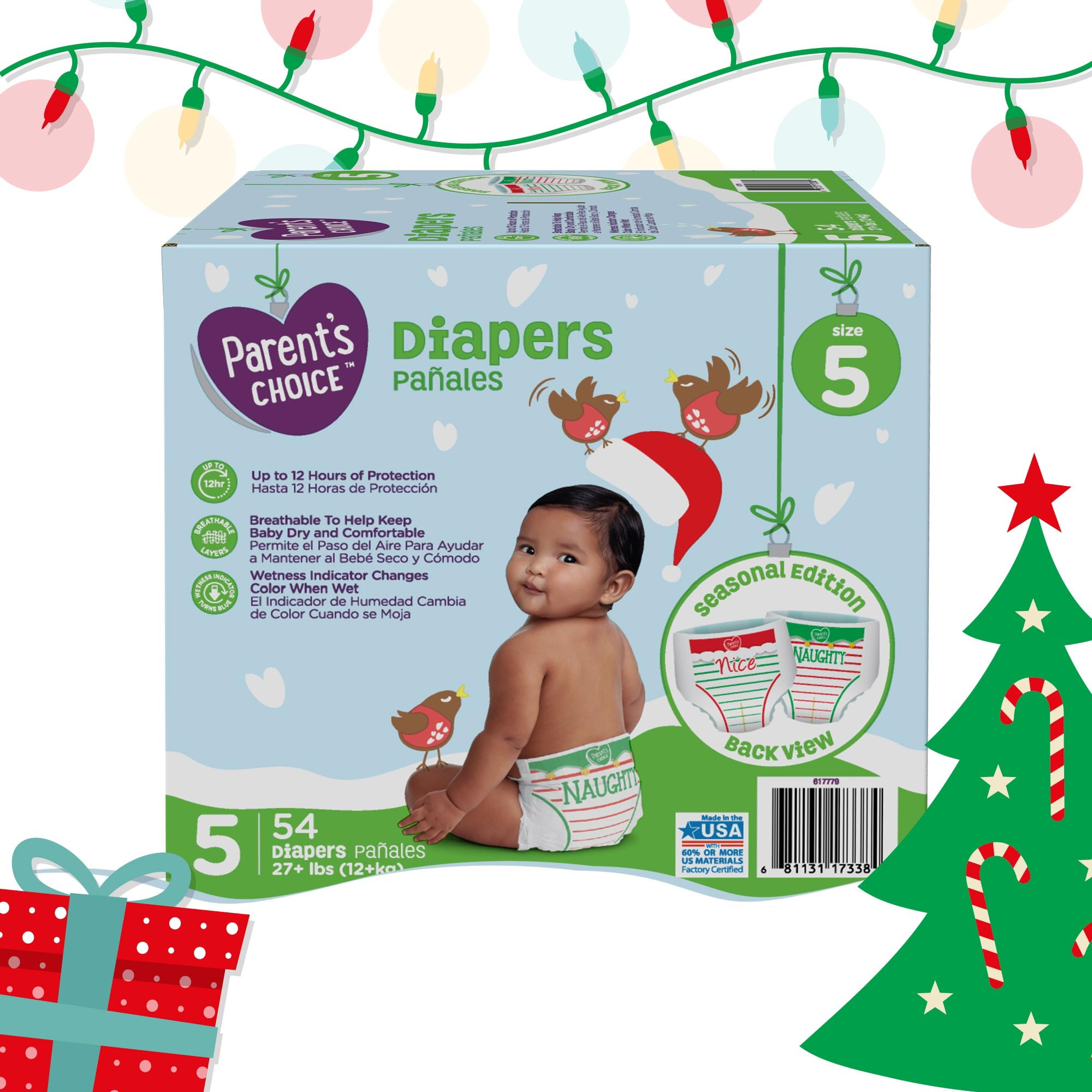 Parent's Choice Limited Edition Holiday Baby Diapers, Size 5, 54 Count