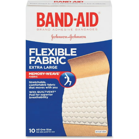 BAND-AID Flexible Fabric Bandages, Extra Large 10 ea (Pack of 2)