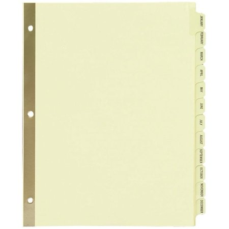 Avery Preprinted Laminated Tab Dividers w/Gold Reinforced Binding Edge, 12-Tab,