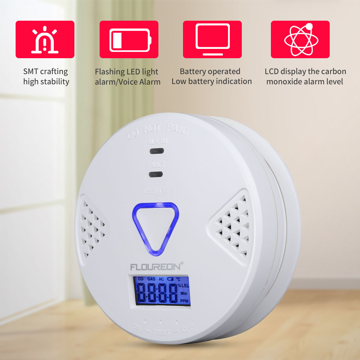 2pcs Floureon Carbon Monoxide Alarm CO Detector with Human Voice & LED Warning Digital Display Battery Operated Gas Detection