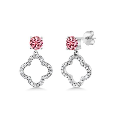 925 Sterling Silver Dangle Earrings Round Pink Created Moissanite 1.00ct DEW