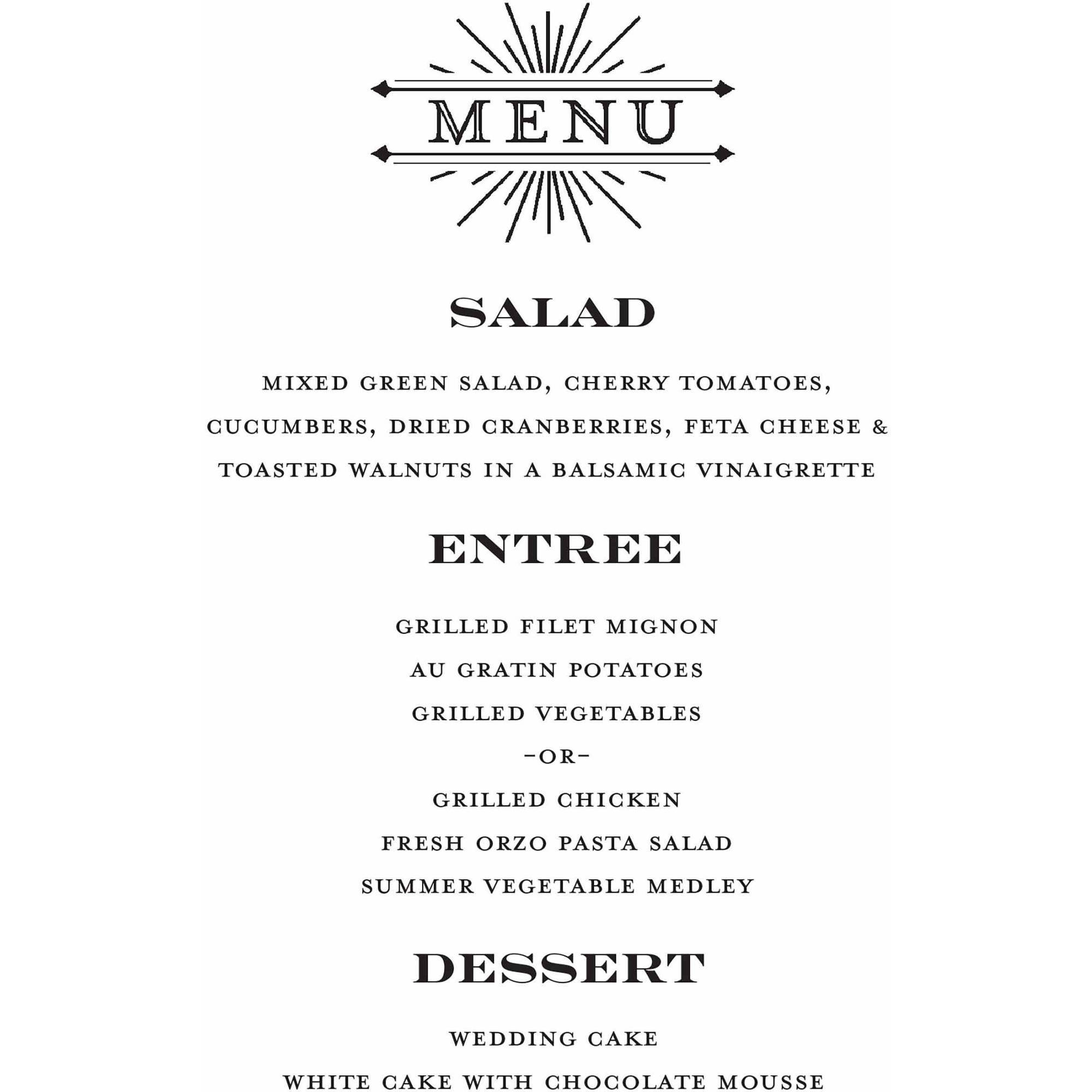 Formal Line Standard Menu Card