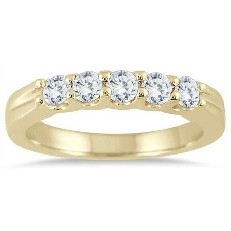 1/2 Carat TW Five Stone Diamond Wedding Band in 14K Yellow