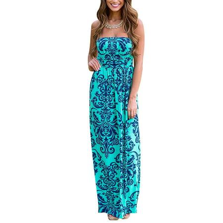 30aec27a27c Redcolourful - Womens Strapless Floral Print Maxi Dress - Walmart.com