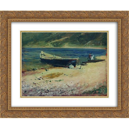Isaac Levitan 2x Matted 24x20 Gold Ornate Framed Art Print 'Boat on the coast' - Love Boat Isaac