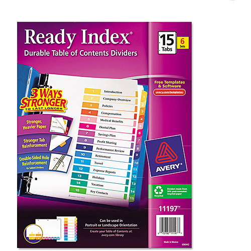 Avery Ready Index Table of Contents Dividers 11197, 15-Tab, 6 Sets