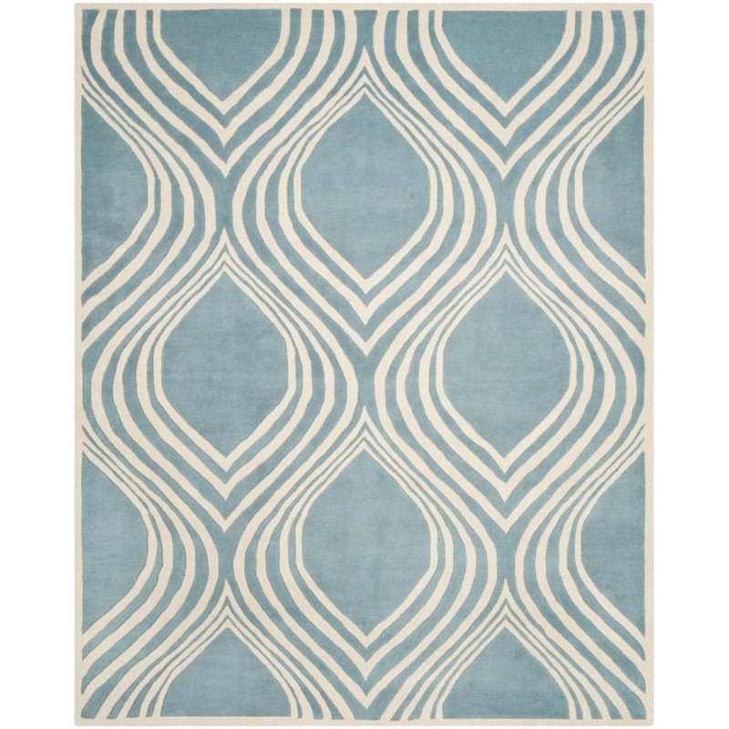 """Safavieh Chatham 2'3"""" X 7' Hand Tufted Wool Rug in Blue and Ivory - image 7 of 9"""