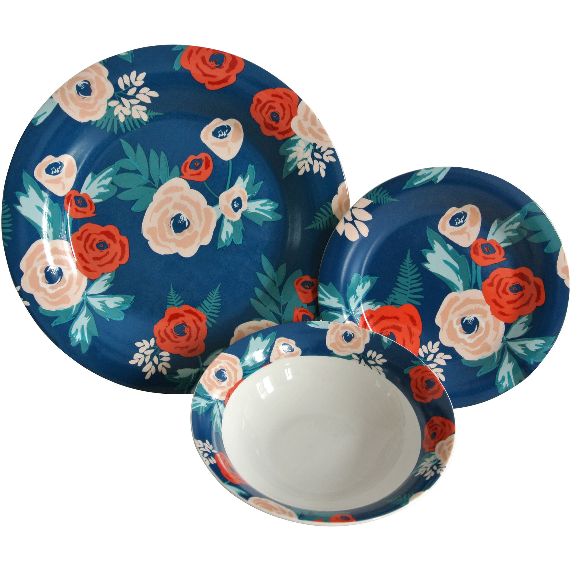 Mainstays Navy Floral 12-Piece Stoneware Dinnerware Set