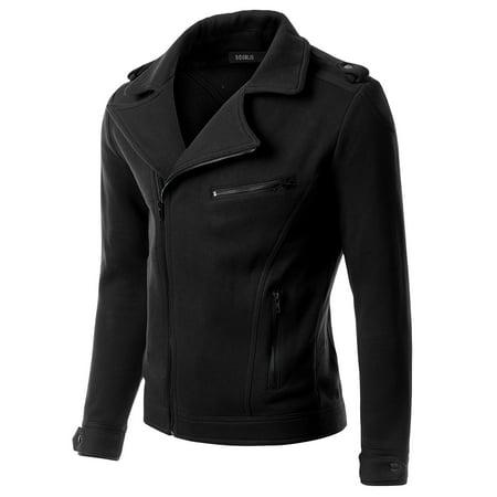 - Doublju Casual Asymmetrical Zip Up Rider Jacket