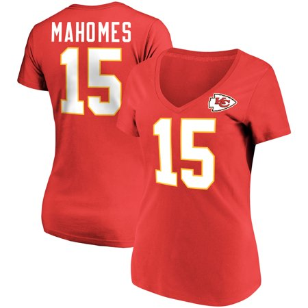 Kansas City Chiefs Jersey - Patrick Mahomes Kansas City Chiefs Majestic Women's Plus Size Fair Catch Name & Number V-Neck T-Shirt - Red