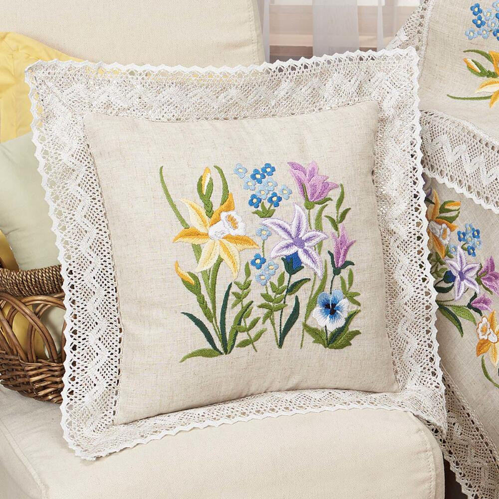 Nob Hill Spring Blooms Pillow Cover Stamped Embroidery