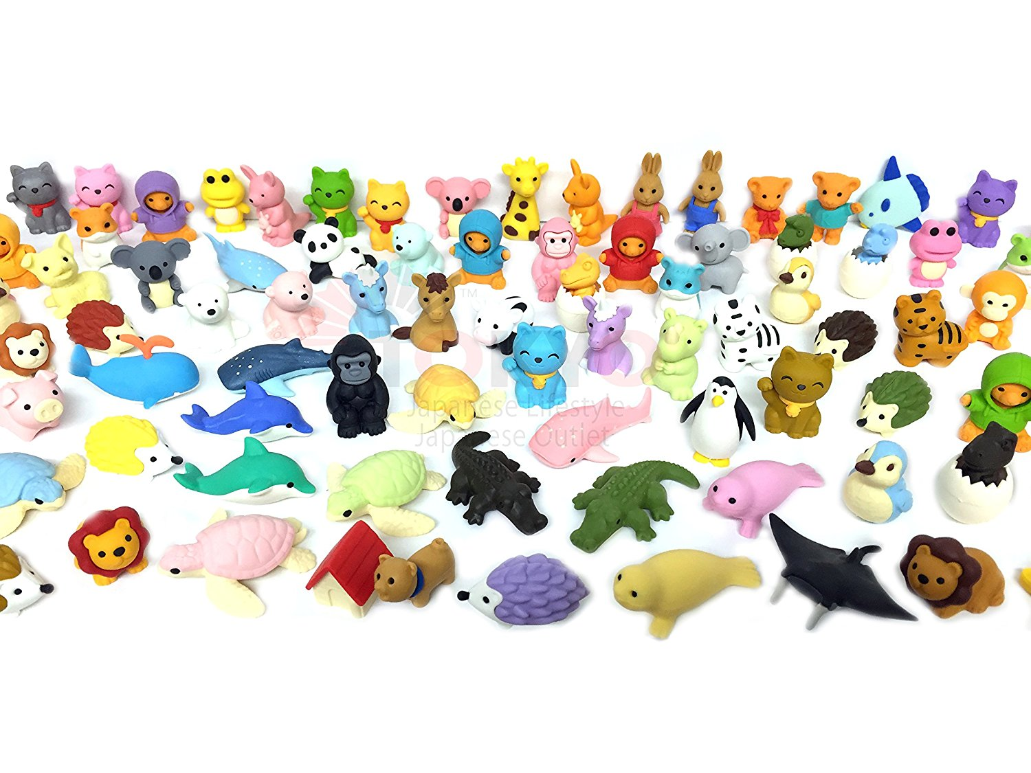 Pencil Eraser Animal Collection Japanese Erasers (Pack of 20) Unicorn included, Ball Artist Safari convenience... by