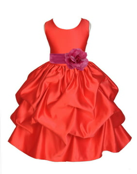 Ekidsbridal Satin Bubble Pick-up Red Flower Girl Dress Christmas Weddings Summer Easter Dress Special Occasions Pageant Toddler Clothing Holiday Party Bridal Baptism 208T Royal Blue Tiebow