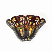 Stained Glass Half Moon Sconce with 4 Flowers - indoor only