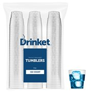 DRINKET Heavy Duty Crystal Clear Glasses Round Hard Plastic Cups 6 Oz Tumbler 100 Count Bulk Pack Disposable   Reusable... by Prestee