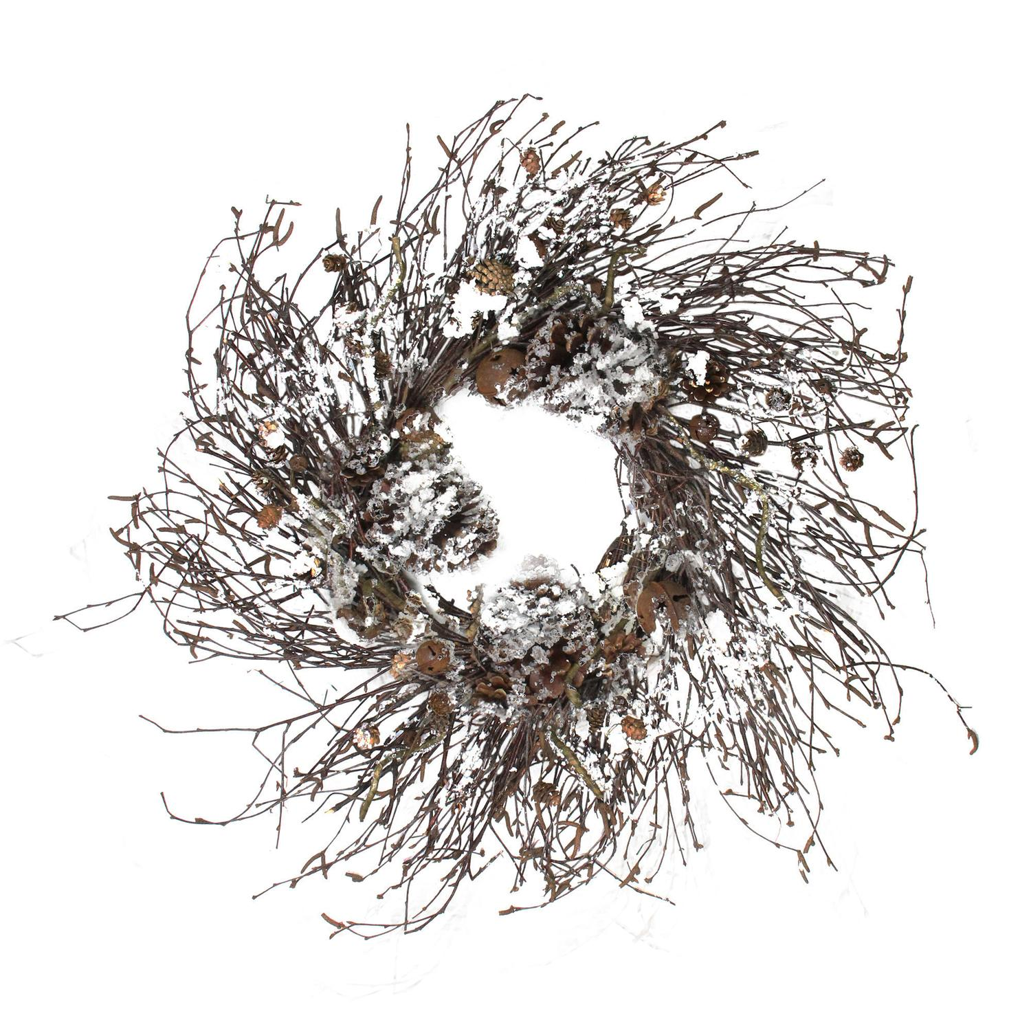 """Northlight 30"""" Unlit Woodsy Wonderland Pine Cone, Bell and Twig Artificial Christmas Wreath"""