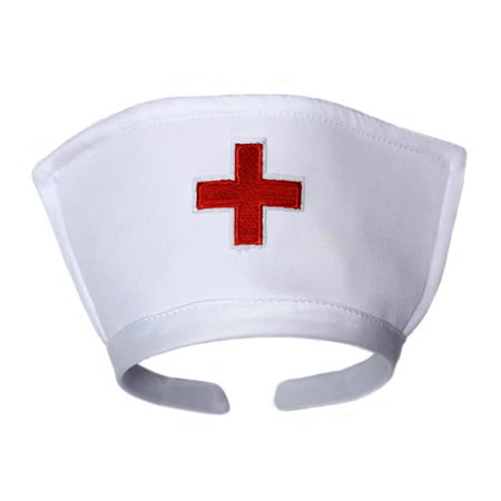 SeasonsTrading White Nurse Hat Headband with Red Cross Costume Accessory](Cute Nurse Costume)