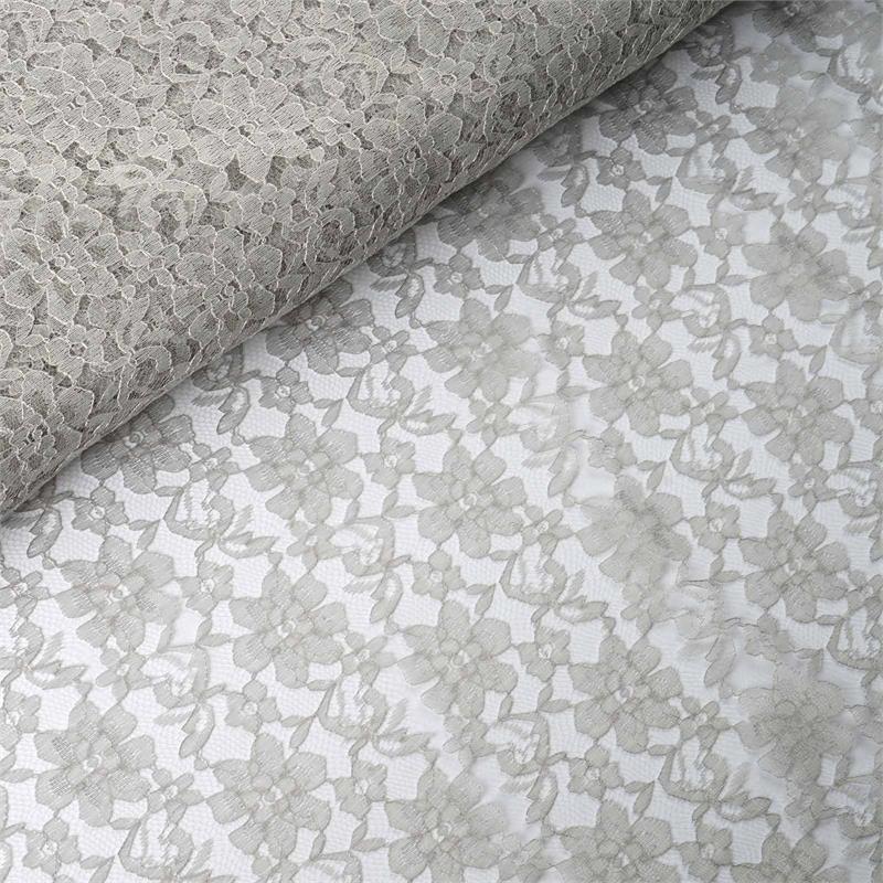 54 inch x 15 yards Lace Fabric Bolt - Silver