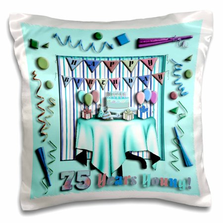 3dRose Birthday Room in Green Happy Birthday 75 Years Old - Pillow Case, 16 by 16-inch for $<!---->