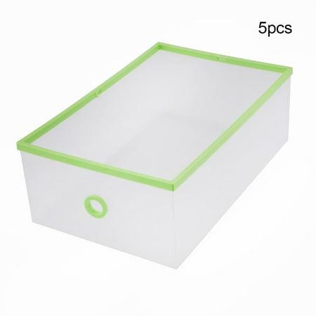 - 5-Pack Transparent Stackable Shoe Storage Boxes, Multifunction Plastic Foldable Shoe Boxes Storage Organiser DIY Shoe Drawers Home Storage,5 Storage Boxes