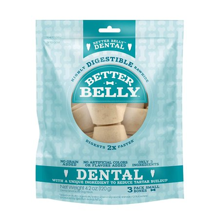 Better Belly Dental Small Bones 3 Count, Highly Digestible Rawhide White Rawhide Knotted Bones