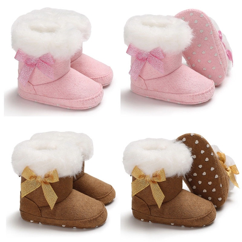 Baby Girls Boys Soft Snow Booties Animal Pinted Floor Shoes Prewalker Warm Shoe