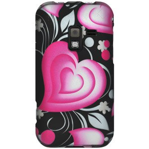 Rubberized Protector Hard Shell Snap On Case for Samsung Conquer 4G SPH-D600, Sprint Samsung Conquer 4G SPH-D600 - 3D Love