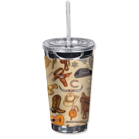 Mugzie Sweat Proof 16-Ounce To Go Tumbler with Insulated Wetsuit Cover - Cowboy Themes