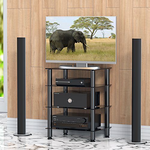 Fitueyes Universal TV Stand Media Component Stand Audio Cabinet With 4 Tier  Glass Shelf For