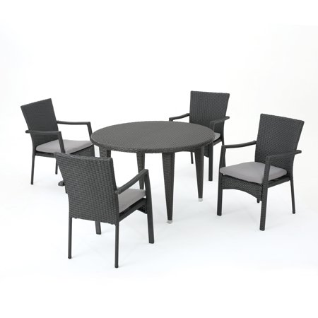 Muted Rock Outdoor 5 Piece Grey Wicker Circular Dining Set with Water Resistant Cushions, Grey
