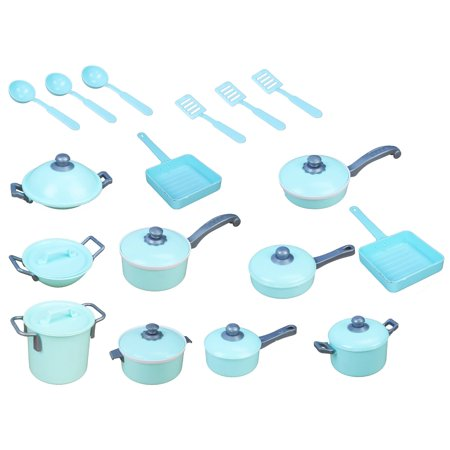 Complete Pretend Play Light Blue Toy Kitchen Playset Pots And Pans