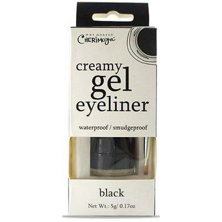 LWS LA Wholesale Store  CHERIMOYA CREAMY Gel Eyeliner & Brush Black Waterproof, Smudgeproof eye (Best Makeup Brush For Gel Eyeliner)