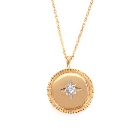 Sterling Silver 14K Gold Plated Cubic Zirconia Locket Necklace