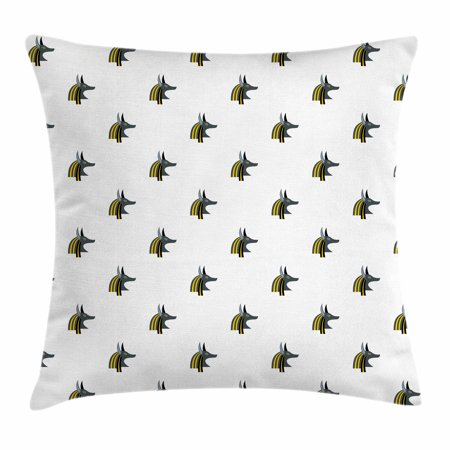 Egyptian Throw Pillow Cushion Cover, Head of an Indigenous Religious Figure Jackal Symbol Antiquities History, Decorative Square Accent Pillow Case, 18 X 18 Inches, Grey Black Yellow, by Ambesonne (Egyptian Jackal Mask)