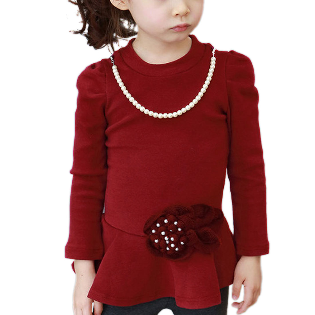 Girls Pullover Round Neck Beads Detail Burgundy Dress 5