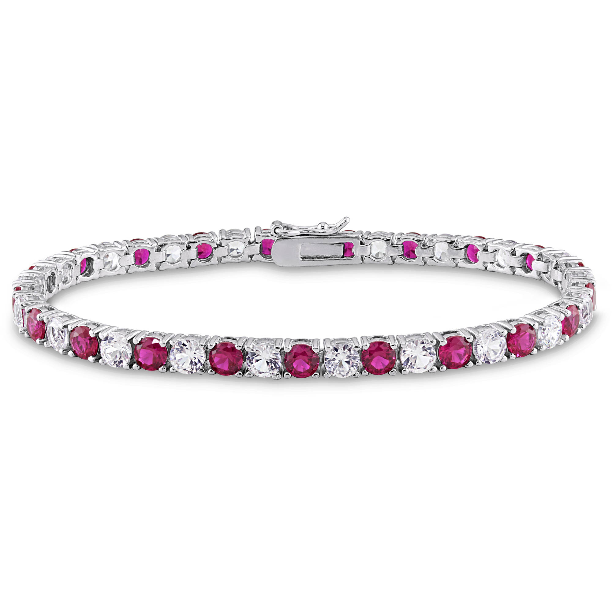 Tangelo 14-1/2 Carat T.G.W. Created White Sapphire and Ruby Sterling Silver Tennis Bracelet, 7.25