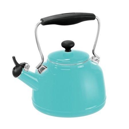 Chantal 1.7 Quart Durable Enamel on Steel Vintage Stovetop Tea Kettle, Aqua Blue (Aqua Blue Tea Kettle)