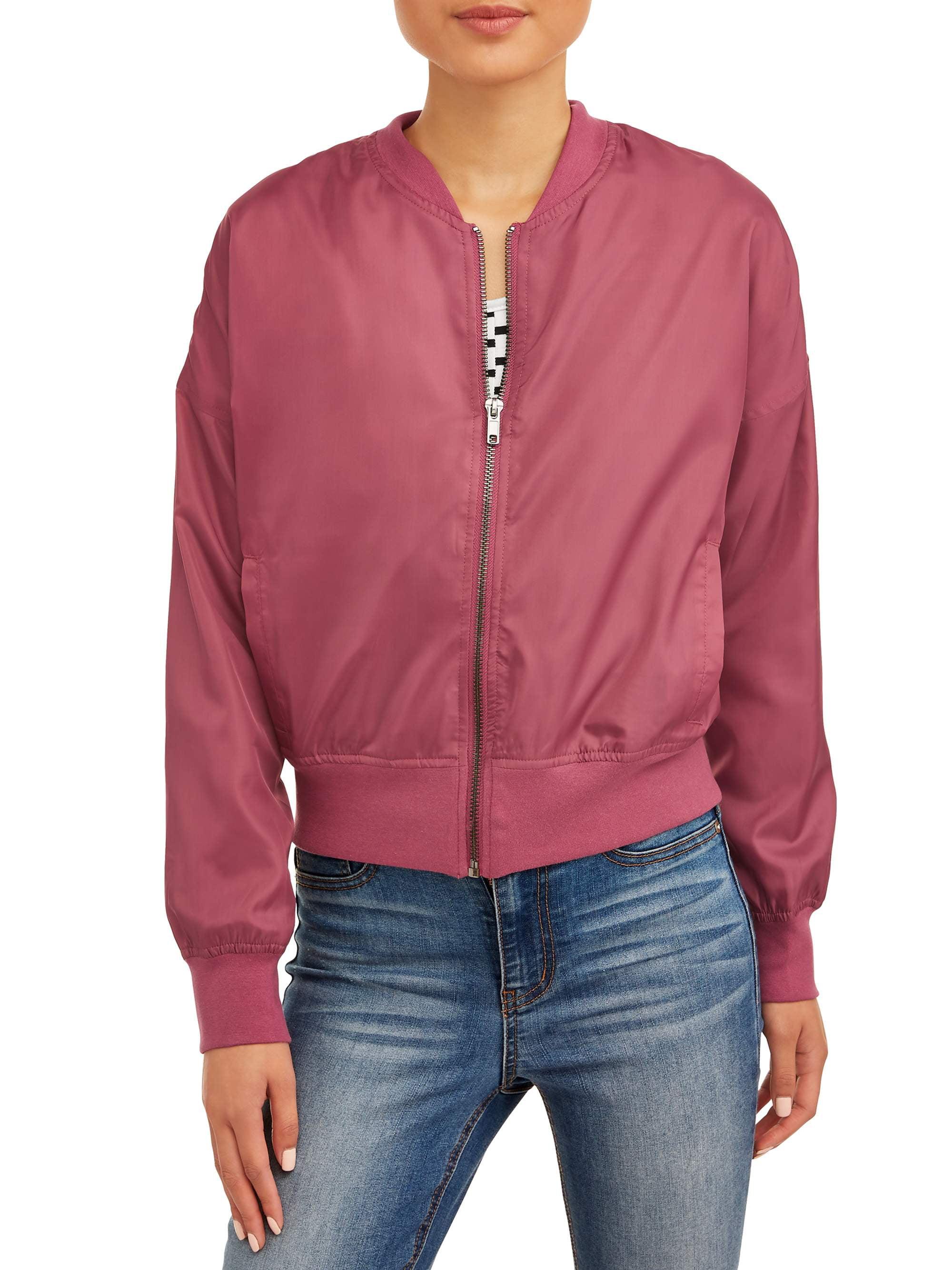 Pink Platinum Womens Faux Fur Bomber Jacket